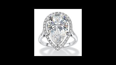 Pear Cut Halo Ring Platinum