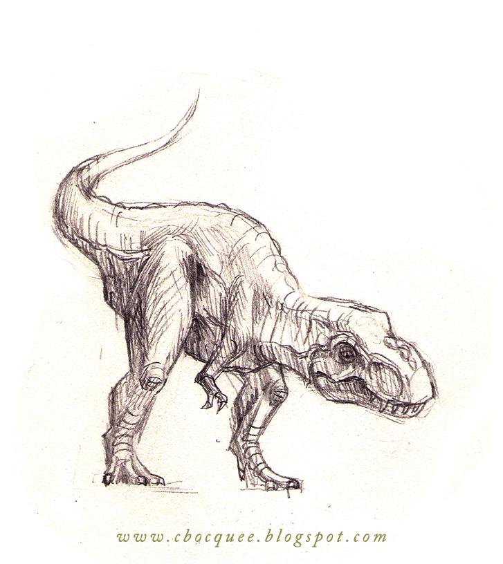 tyrannosaurus rex illustration done in pencil