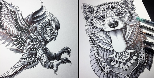 00-Ben-Kwok-bioworkz-Animals-Drawings-Detailed-with-Elaborate-Geometric-Shapes-www-designstack-co