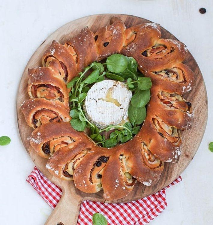 Corona de pan de jamón