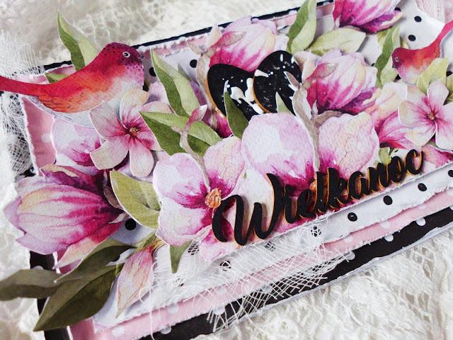 ozdoby kartki -ptaszek i kwiaty wycięte z papieru
