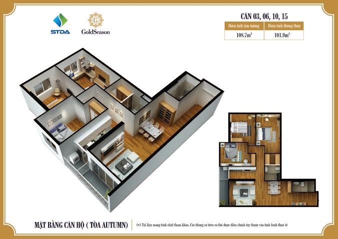 Căn hộ điển hình tại dự án GoldSeason 47 Nguyễn Tuân