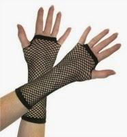 Long, Black Fingerless Gloves