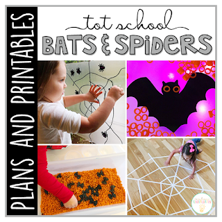 Tot School & Toddler Curriculum Made Easy! This Tot School: Bats & Spiders resource has everything you need for a week packed full of spooky themed fun and learning. Weekly plans, materials, printables and goals for pre-academic, fine motor, and gross motor skills practice, along with snack ideas, and sensory bin plans are all included in this download!