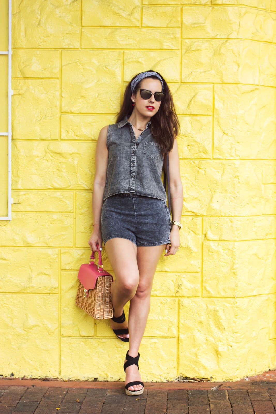 forever 21 denim shirt and shorts
