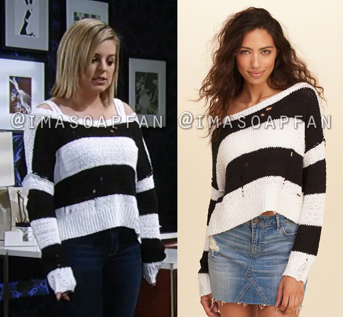 Maxie Jones, Kirsten Storms, Distressed Black and White Striped Sweater, General Hospital, GH