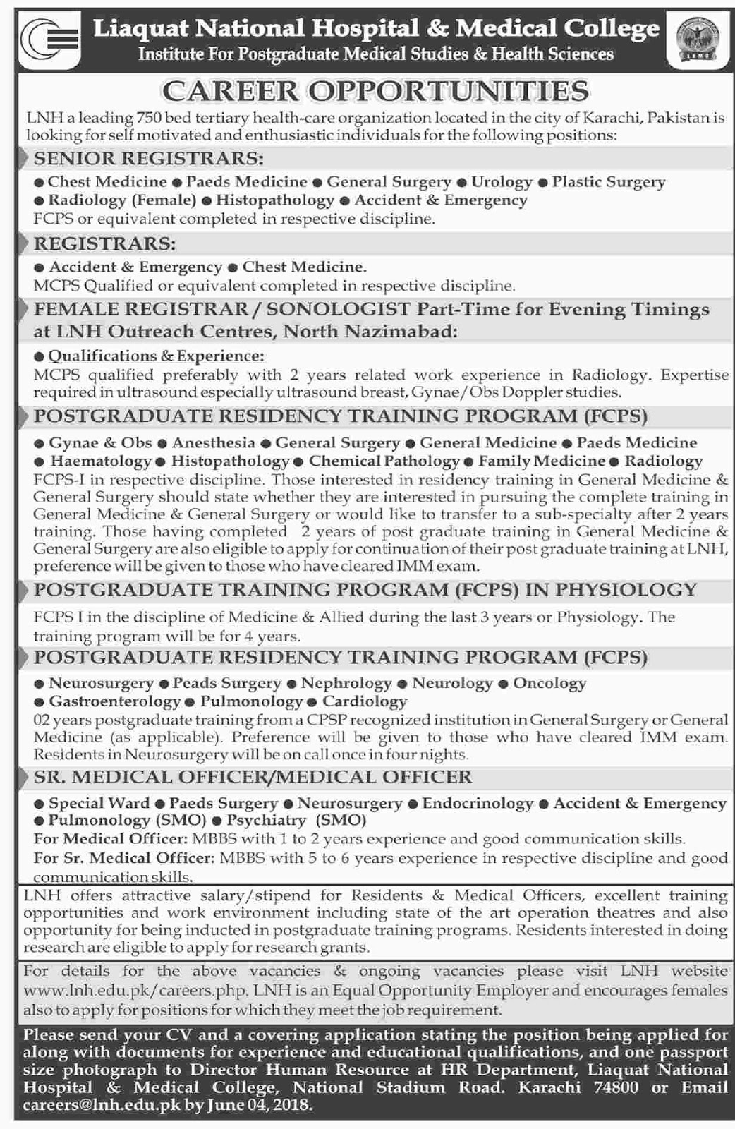 Liaquat National Hospital And Medical College Last date 04 June 2018