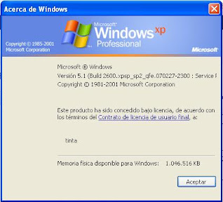 Ventana que explica acerca de la versión de Windows