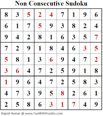 Non Consecutive Sudoku (Fun With Sudoku #259) Solution