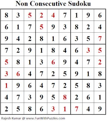 Non Consecutive Sudoku (Fun With Sudoku #259) Solution