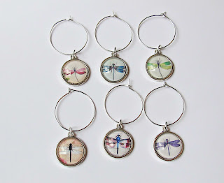 image wine glass charms set wineglass dragonfly dragonflies handmade domum vindemia
