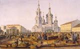 View of Sennaya Square by Ferdinand Perrot - Cityscape, Landscape Print