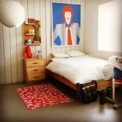 Modern one-twelfth scale miniature bedroom scene.