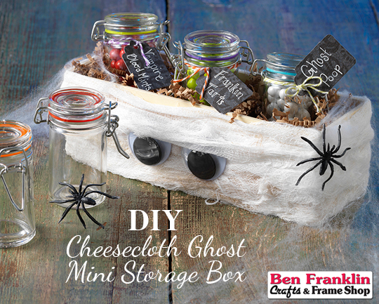 DIY Cheesecloth Ghost Mini Storage Box