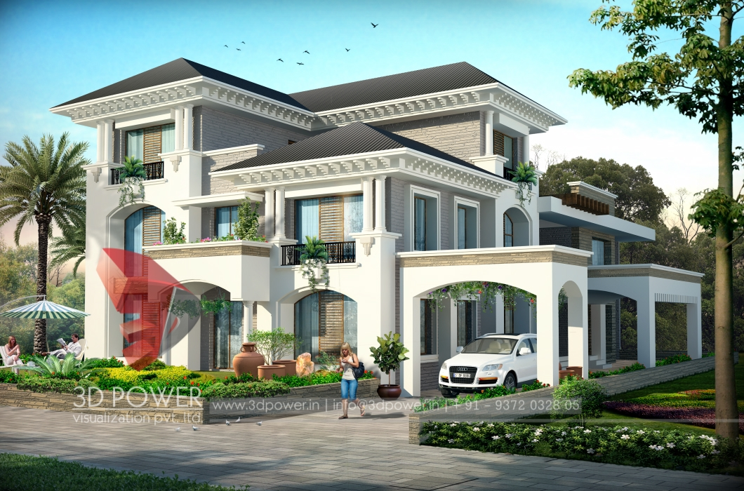 Ultra modern home designs home designs 3d exterior home for Latest kothi designs exterior