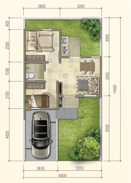 Desain Rumah Minimalis Dengan Halaman Luas lingkar warna denah rumah minimalis ukuran 6x11 meter 2