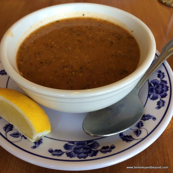 red lentil soup at Kobani Mediterranean Grill in Berkeley, California