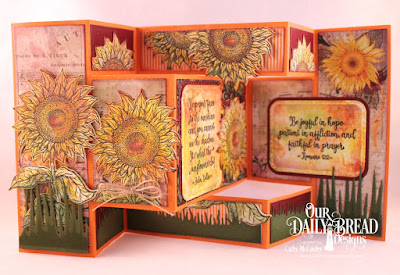 Our Daily Bread Designs Stamp Set: Be a Sunflower, Paper Collections: Follow the Son, Fall Favorites, Custom Dies: Tri-Shutter Card, Tri-Shutter Layers, Sunflower, Rounded Rectangles, Double Stitched Rounded Rectangles, Grass Border, Grass Hill