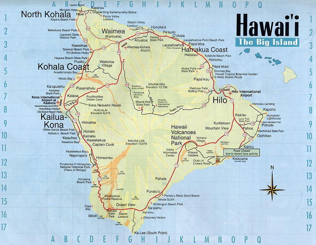 Map Hawaii Big Island Hilo