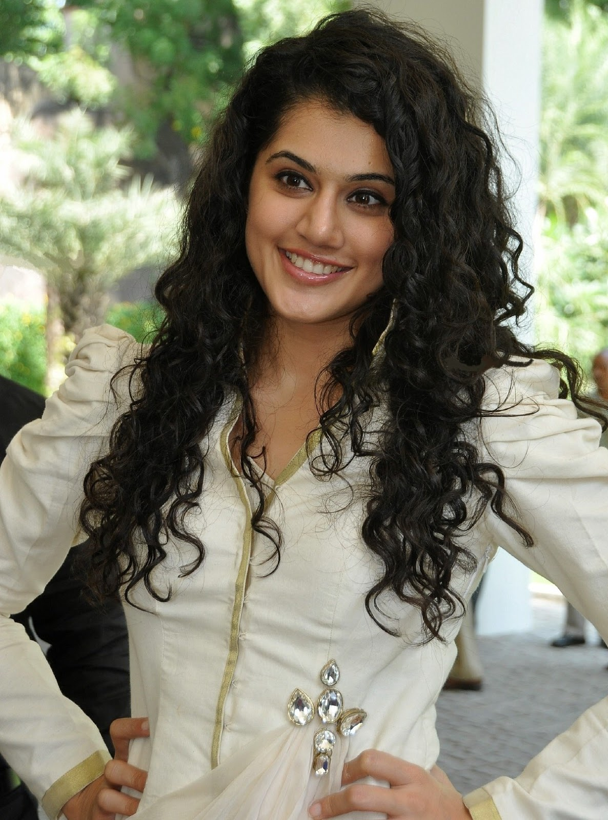 Glamorous Taapsee Pannu Smiling Face Photos In White Dress