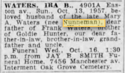 ira b waters husband of mary nunnemann waters