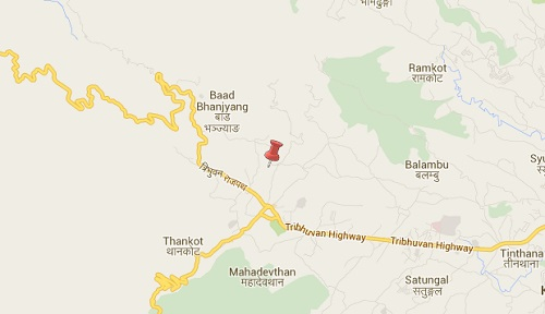 thankot earthquake epicenter map