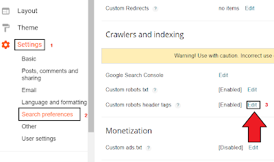 Custom Robots Header Tags Setting for Blogger Users