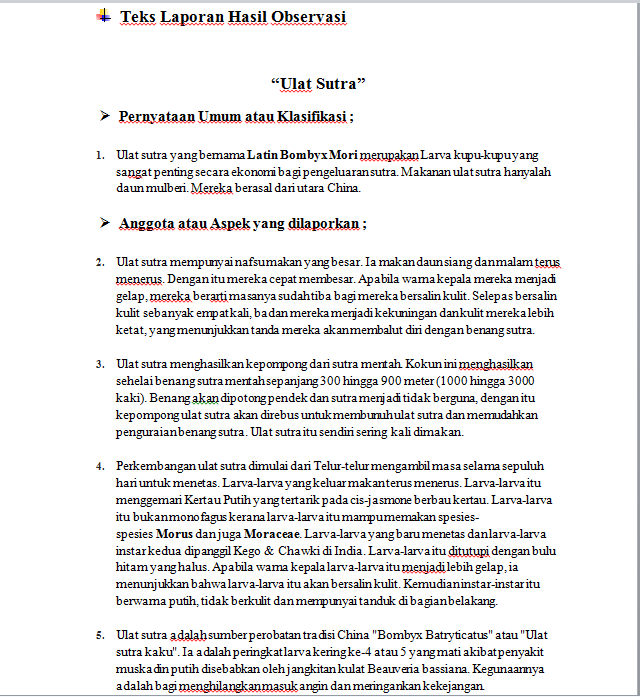 Contoh Teks Laporan Hasil Observasi Beserta Strukturnya Kumpulan Contoh Laporan
