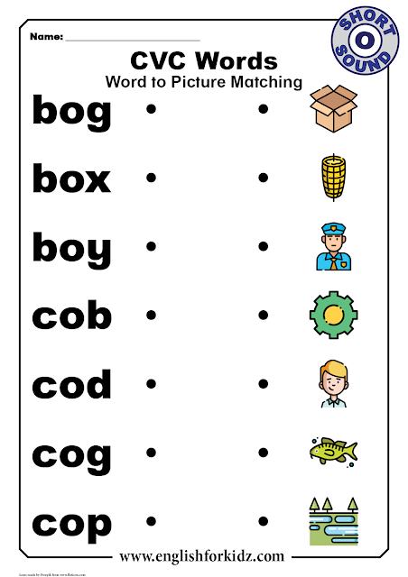 CVC short o worksheets - printable ESL and EFL resources
