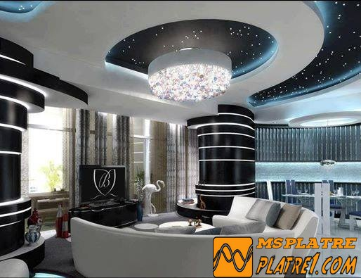Faux plafond platre moderne platre for Platre moderne pour salon