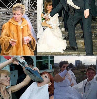Saufen nach der Eheschließung Hochzeit
