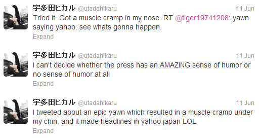Hikaru Utada's tweets | Yawns. Makes news