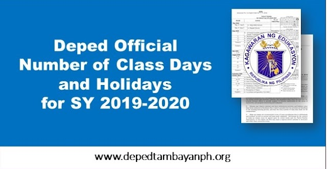 Deped Official Class Days and Holidays for School Year 2019-2020