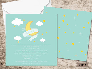 moon and stars personalized baptism invitations