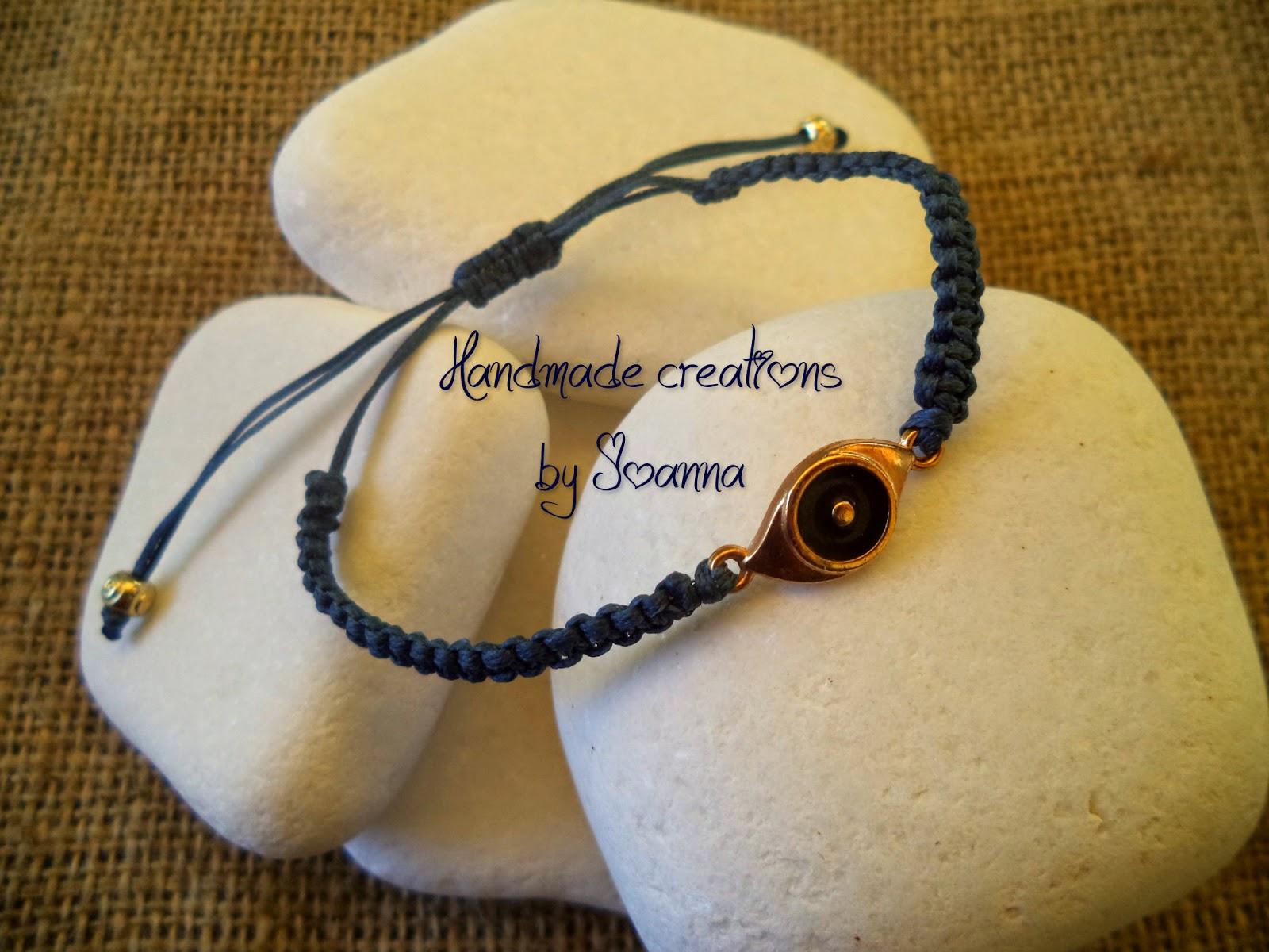 Handmade Creations By Joanna  Βραχιόλι Μακραμέ  Ματάκι fc85a702800