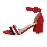 Sandale comode, rosii, cu toc mediu