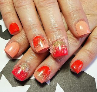 orange and hot pink spring nails