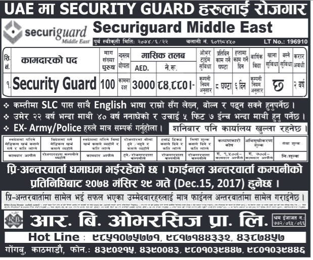 Jobs in UAE for Nepali, Salary Rs 84,880