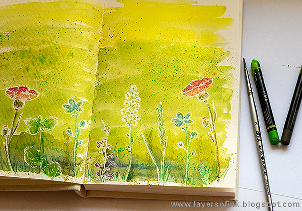 Layers of ink - Shimmery Watercolor Art Journal Tutorial by Anna-Karin Evaldsson with Carabelle Studios stamps