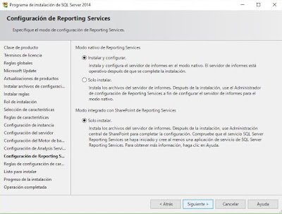 Instalación de SQL Server 2014, Reporting services