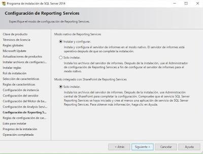 Instalación de SQL Server 2014, Reporting services
