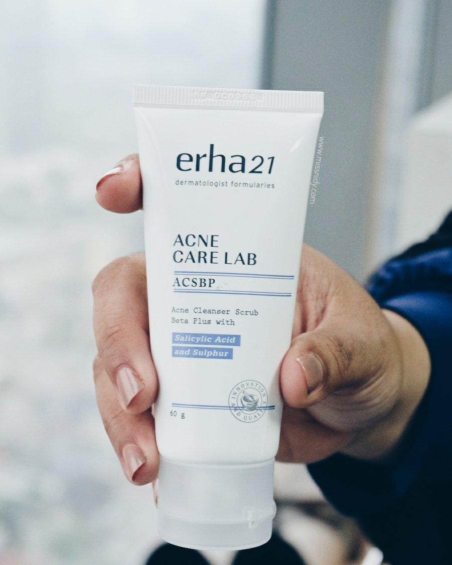 review erha acne cleanser scrub beta plus