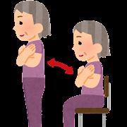 椅子を使ってスクワットをしている人のイラスト(高齢者)