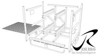 Renderización Rack para el transporte de piezas. Plano explosión de piezas.