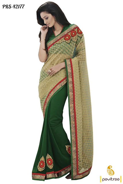 Green Beige Party Wear Saree at Low Price