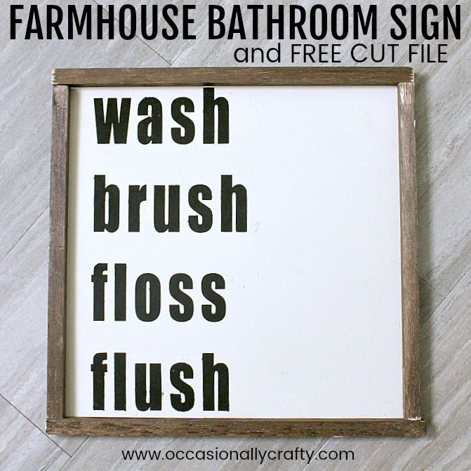 This farmhouse-style wooden sign is perfect for your bathroom and easy to make!