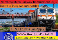 North Western Railway Recruitment 2017– 1164 Act Apprentice