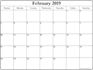 Free Printable Calendar February 2019