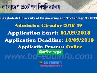 Bangladesh University of Engineering and Technology (BUET) Admission Test Circular 2018-2019