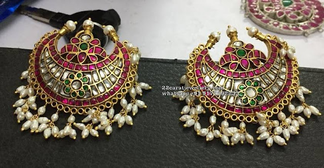 Silver Kundan Necklace with Heavy Studs